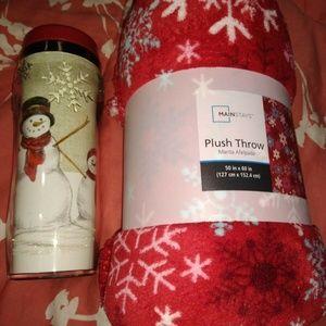 NEW Snowflake Lot Gift Set Fleece Blanket & Cup
